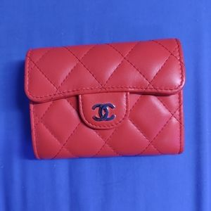 Chanel Coral Coloured XL lambskin card holder